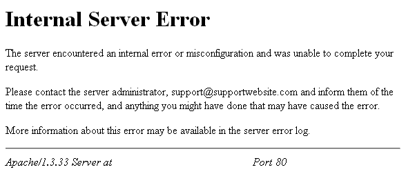 erreur 500 internal server error