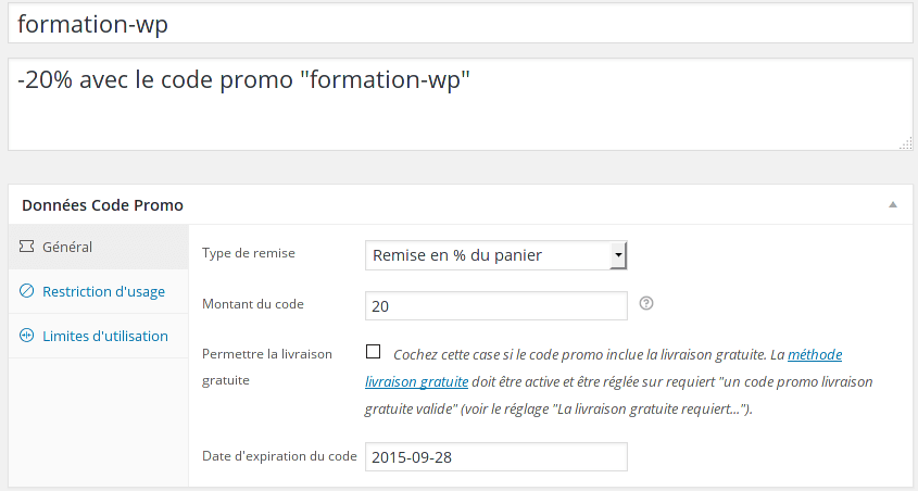 coupons de réductions Woocommerce
